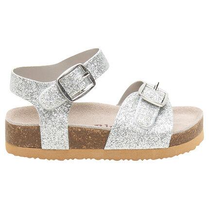 Sandalias brillantes con suela de efecto cuero