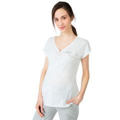 Camiseta de manga corta homewear con mensaje estampado