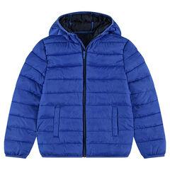 Júnior - Anorak ligero, impermeable y acolchado con capucha y bolsa de almacenamiento estampada