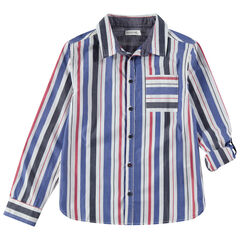 Júnior - Camisa de manga larga de rayas verticlaes y bolsillo