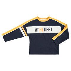 Júnior- Camiseta de manga larga de forma cuadrada con franjas en contraste