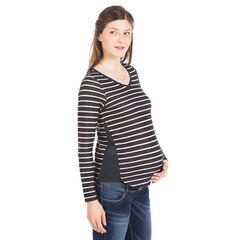 Sudadera para el embarazo con rayas con aplicaciones