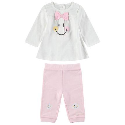 Conjunto de túnica con estampado de ©Smiley y leggings rosas