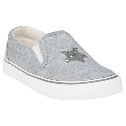Zapatillas bajas con goma de tela y estrella de lentejuelas