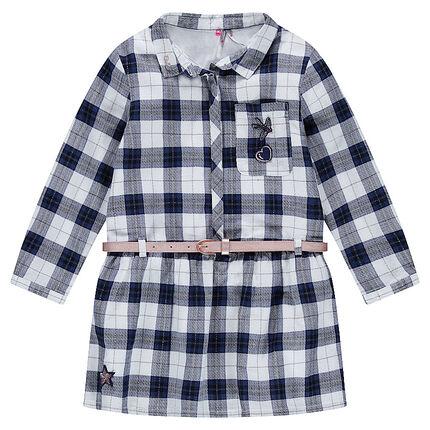 Vestido de manga larga de cuadros con cinturón desmontable que se ajusta