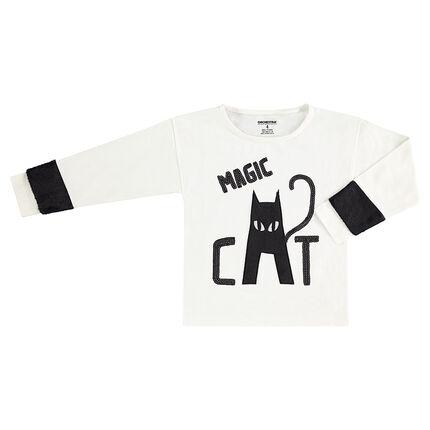 Camiseta de manga larga de punto con lentejuelas negras y gato de borreguillo