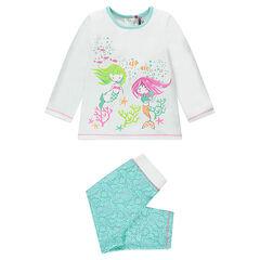 Pijama de punto con estampado de sirenas, adaptado a cada edad