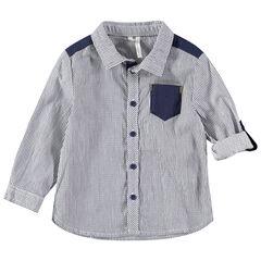 Chemise manches longues à fines rayures all-over et poche unie