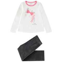 Pijama de terciopelo bicolor con princesa estampada