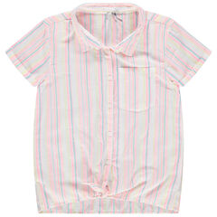 Júnior - Camisa de manga corta que se anuda con rayas verticales