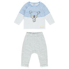 Conjunto de camiseta con estampado de koala y pantalón de punto jaspeado