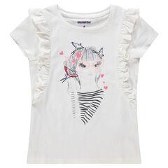 Camiseta de manga corta con volantes y personaje estampado