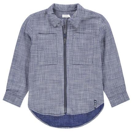 Camisa de manga larga con abertura con cremallera