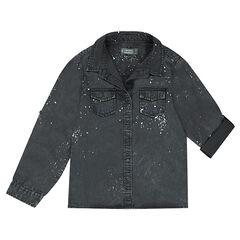 Júnior - Camisa de Tencel con mangas que se recogen y efecto de manchas de pintura.