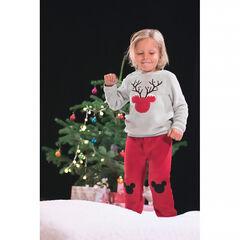Pijama bicolor de polar con Mickey perfilado de estilo navideño ©Disney