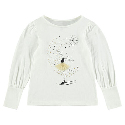 Camiseta de manga larga con bailarina estampada