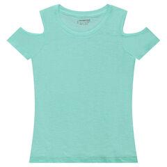 Júnior - Camiseta de manga corta con hombros de punto calado