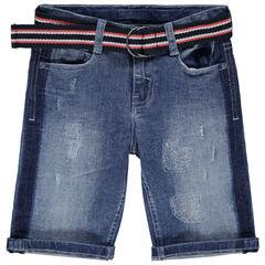 Bermuda en jean effet used à ceinture rayée amovible