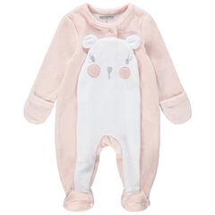Pijama de terciopelo de koala con detalles bordados