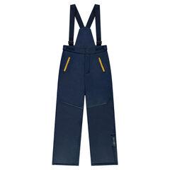Júnior - Pantalón de esquí liso con tirantes extraíbles y bolsillos con cremallera
