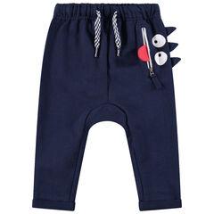 Pantalón de chándal de felpa con bolsillo con cremallera y reloj estampado