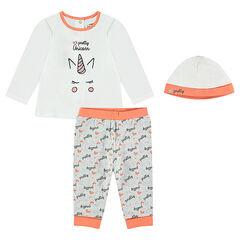 Pijama de punto con estampado de unicornio y gorro a juego