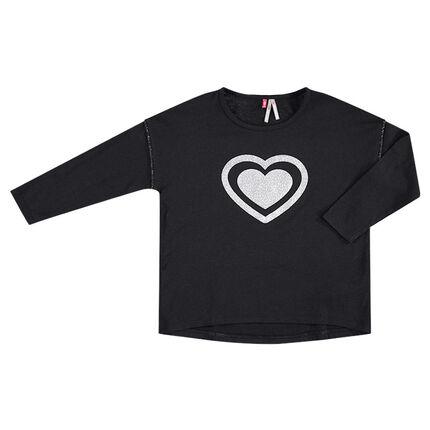 Camiseta de manga larga con corazón estampado en la parte delantera