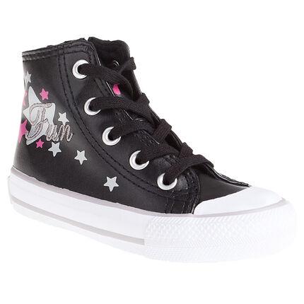 Zapatillas deportivas altas de piel sintética con estrellas estampadas