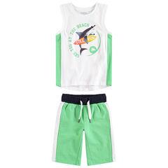 Conjunto de playa con camiseta con estampado de lentejuela y bermudas de felpa
