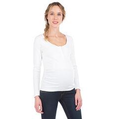 Camiseta de premamá acanalada de manga larga con automáticos en el cuello