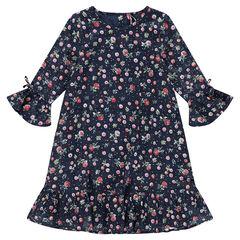 Júnior - Vestido de algodón de fantasía con flores all-over y volantes
