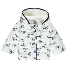 Anorak acolchado con capucha t estampado de pájaros
