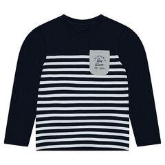 Júnior - Camiseta de manga larga de punto, estilo de marinera.