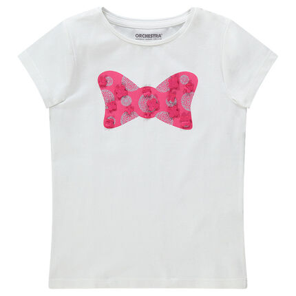Camiseta de manga corta con dibujo estampado y detalles de relieve