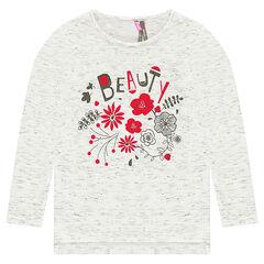 Camiseta de manga larga de punto jaspeado con flores brillantes