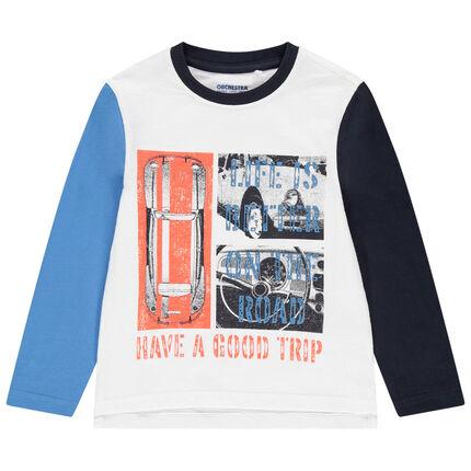 Camiseta de manga larga que contrasta y estampado de coche vintage