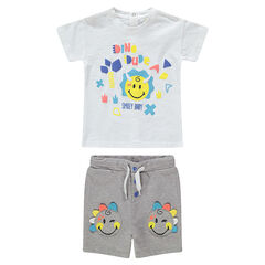 Conjunto con camiseta estampada ©Smiley y bermudas con parches Smiley