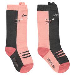 Juego de 2 pares de calcetines altos con gato de jacquard y acanalado de fantasía