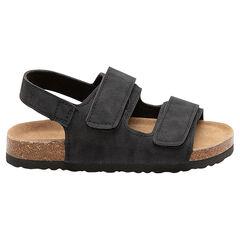 Sandalias con amplias tiras con velcro y suela con efecto corcho