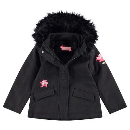 Abrigo de paño de lana con forro de borreguito, pelo sintético y parches de flores