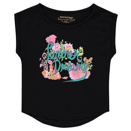 Camiseta de manga corta de punto slub y estampado de fantasía.