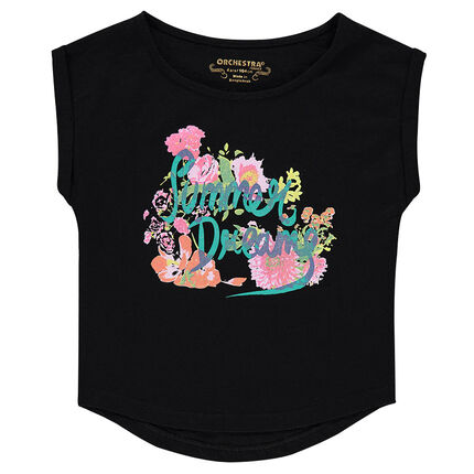 Júnior - Camiseta de manga corta de punto slub con estampado de fantasía