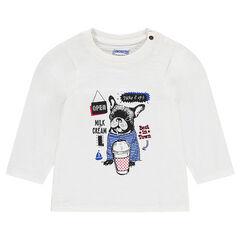 Camiseta de punto con estampado de bulldog francés
