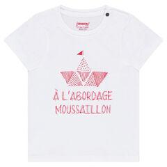 Camiseta de manga corta de punto con barco estampado