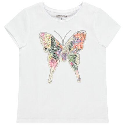 Camiseta de manga corta de algodón con mariposa de lentejuelas mágicas