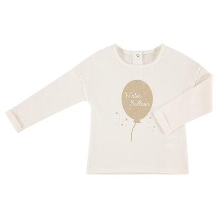 Camiseta de manga larga de punto con balón estampado brillante