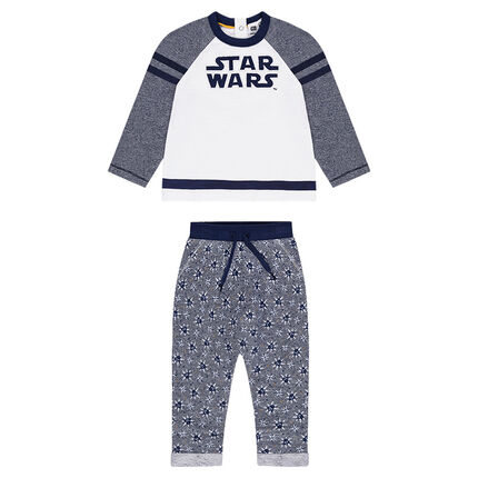Chándal de felpa con inscripción bordada de Star Wars™ y pantalón estampado all-over