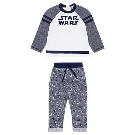 Chándal de felpa con inscripción bordada de Star Wars™ y pantalón estampado all-over