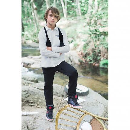 Júnior - Camisa de manga larga lisa con bolsillo de fantasía