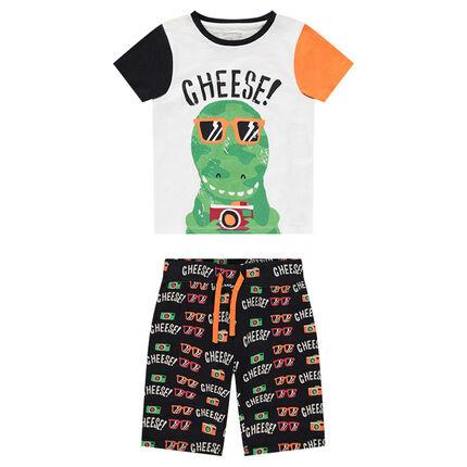 Pijama de punto con camiseta con estampado de dinosaurio y bermudas con estampado all over